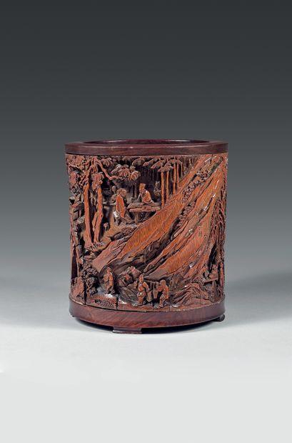1 574 950 € frais compris - Record mondial pour un porte-pinceau en bambou CHINE – Epoque Kangxi (1662-1722)