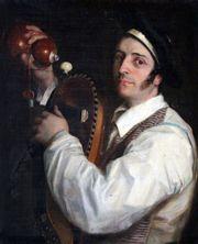 Ecole du XIXe. Le joueur de vielle. Huile…