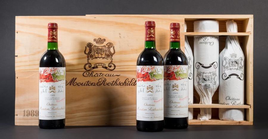 6 bouteilles Château Mouton Rothschild 1989...