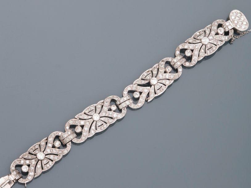 Bracelet Art Déco en or blanc 18k composé...