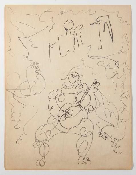 Pablo PICASSO (1881-1973)- Arlequin et croquis...