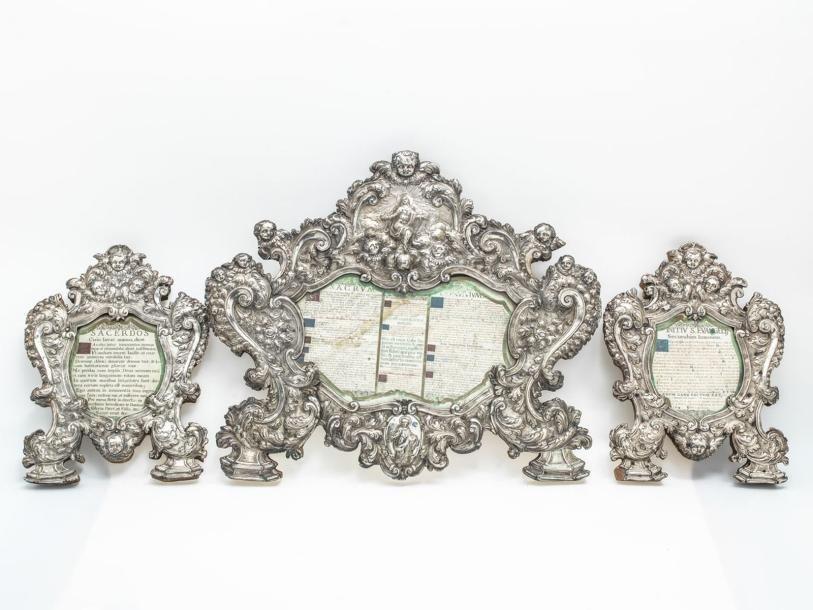 Canons d'autel en Argent (sur âme de bois)...