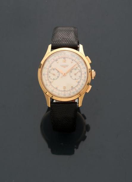 LONGINES, Bracelet montre chrono en or rose,...