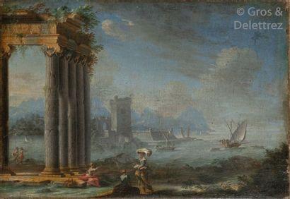 Gennaro GRECO (1663 - 1714) Lavandières près...