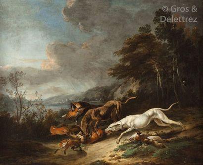 Carl RUTHART, attribué à Trois chiens attaquant...