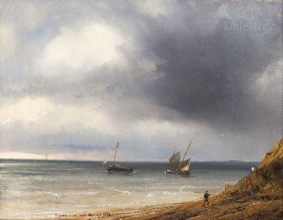 Théodore GUDIN (1802-1880) Marche tourmentée en Bretagne Huile sur toile signée,...