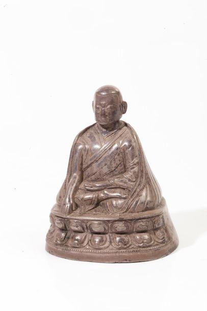 Tibet, XIXe siècle  Petit sujet en argent,...