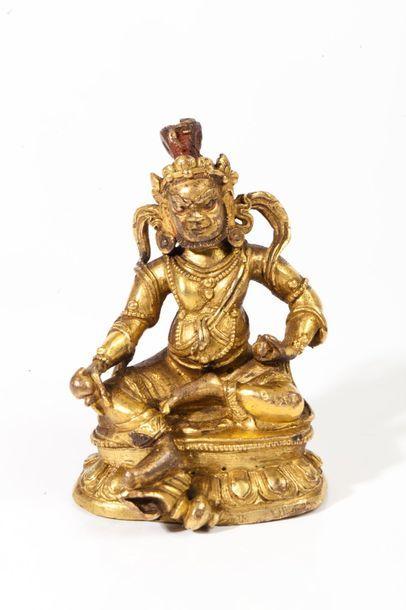 Tibet, XIXe siècle  Statuette en bronze doré,...