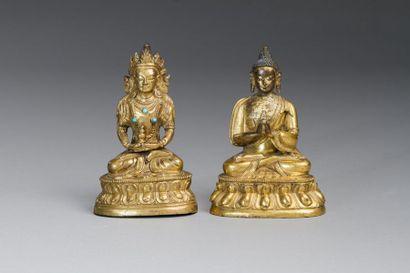 Tibet, fin XIXe siècle  Sujet en bronze doré...