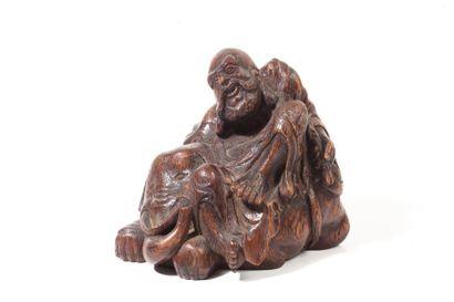 Chine, XIXe siècle  Groupe en bambou scultpé,...