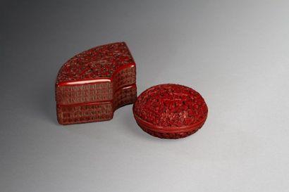 Chine, fin XIXe siècle  Lot de deux boîtes...
