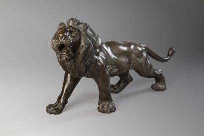Travail du Siam vers 1970  Lion en bronze...