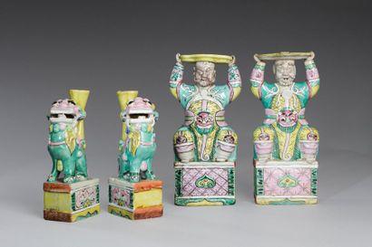 Chine, fin XVIIIe - XIXe siècle  Lot de deux...