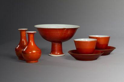 Chine, XVIII-XIXe siècle  Lot de cinq objets...