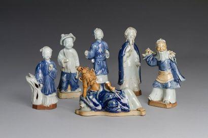 Chine, XIXe siècle  Lot de six sujets en...
