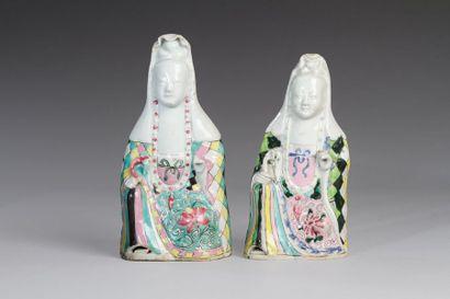 Chine, XIXe siècle  Lot de deux suejts en...