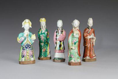 Chine, début XIXe siècle  Lot de cinq sujets...