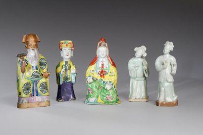 Chine, XIXe siècle  Lot de cinq sujets en...