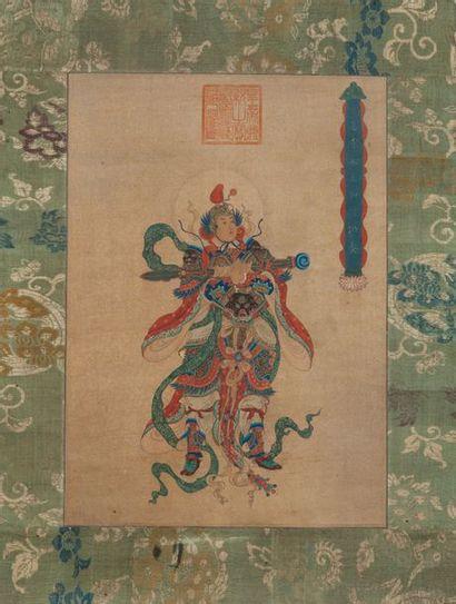 Chine, XXe siècle  Peinture à l'encre et couleurs sur soie, représentant Wei Tuo...