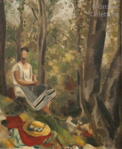 Roger BISSIÈRE (1886-1964)  Femme dans un sous bois, 1927  Huile sur toile.  Signée...