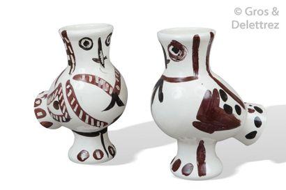 Pablo PICASSO (1881-1973) & MADOURA Editeur Chouette aux traits Pichet en céramique...