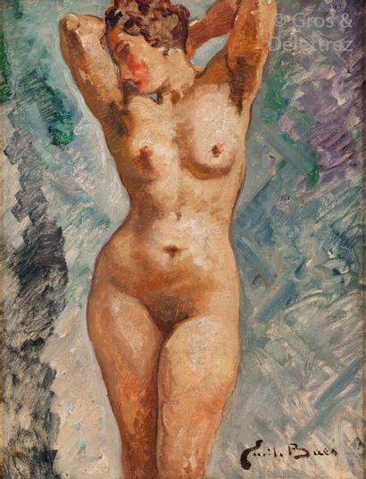 Emile BAES (1879-1954) Nu les bras levés...