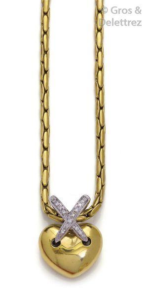 Collier pendentif «?Cœur?» en or jaune et...