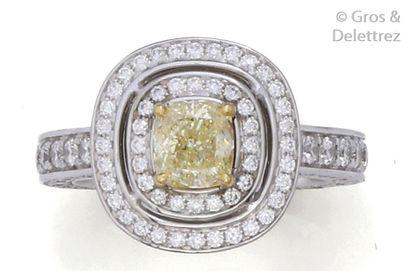Bague or gris, ornée d'un diamant taillé...