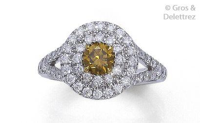 Bague or gris, ornée d'un diamant jaune dans...