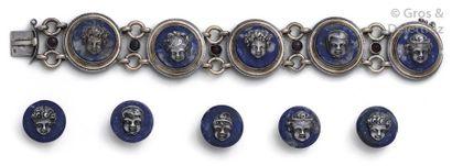 Bracelet articulé en argent et vermeil, orné...
