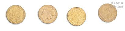 Lot de quatre pièces de 20 Francs Français...