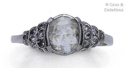 Bague en or 14K, ornée d'un diamant taillé...