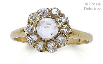 Bague «?Marguerite?» en or jaune, ornée d'un...