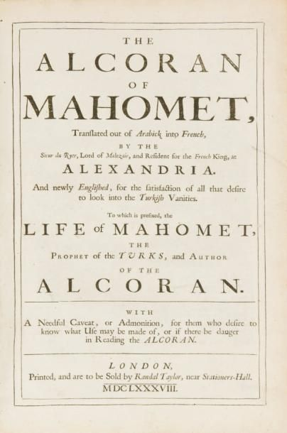 The ALCORAN OF MAHOMET, translated out of...