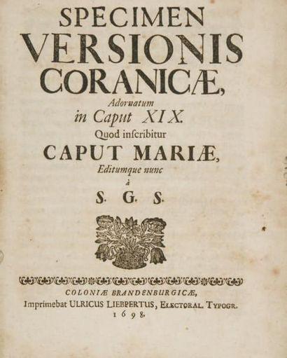 Coran. Specimen Versionis Coranicae, Adornatum...