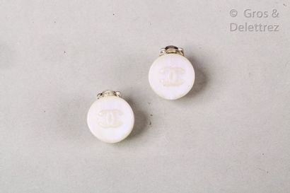 CHANEL par Karl LAGERFELD Cruise 2000 Collection  Pair of iridescent resin ear clips...