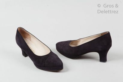 CHANEL Pair of black suede lambskin pumps, 65mm covered heels, 17mm platforms, leather...
