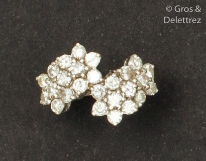 Bague «?Croisée?» en or gris, ornée de diamants...