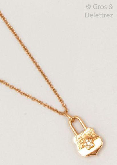 Collier pendentif «?Cadenas?» en or rose,...