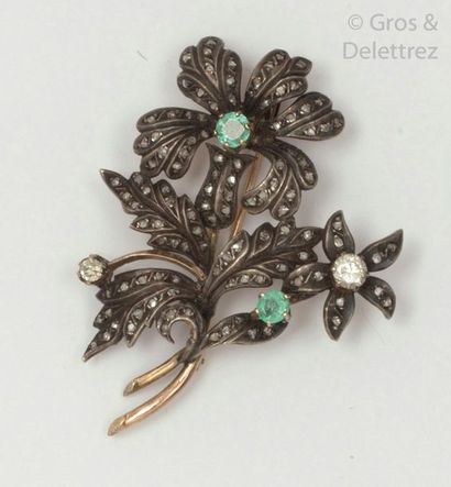 """Brooch """"Bouquet"""" in gold and silver, adorned with two emeralds and brilliant-cut..."""