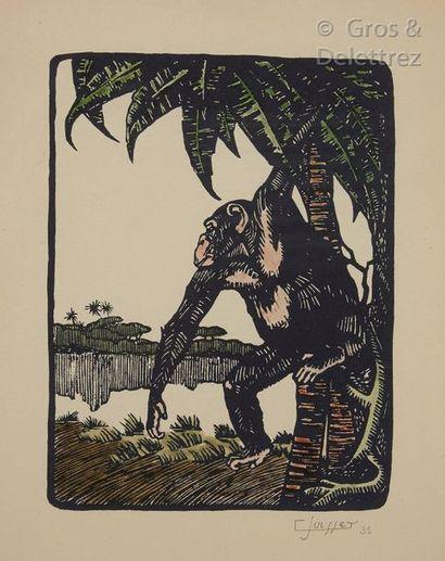 GastonSUISSE (1896-1988) Gorille  Gravure sur bois sur papier japon et rehaussée...