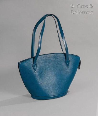"""LOUIS VUITTON Bag """"Saint Jacques"""" GM 26cm in blue epi leather, zip closure, double..."""