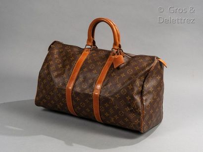 """LOUIS VUITTON Keepall"""" bag 45cm in Monogram canvas and natural leather, zipper, double..."""