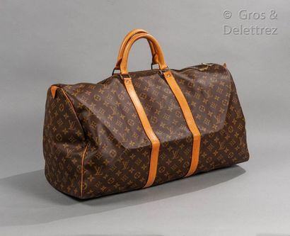"""LOUIS VUITTON Keepall"""" bag 55cm in Monogram canvas and natural leather, double zipper,..."""