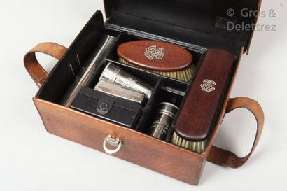 "LOUIS VUITTON Circa 1910  Natural pork case with ""P.L. D"" engraving, strap, inside..."