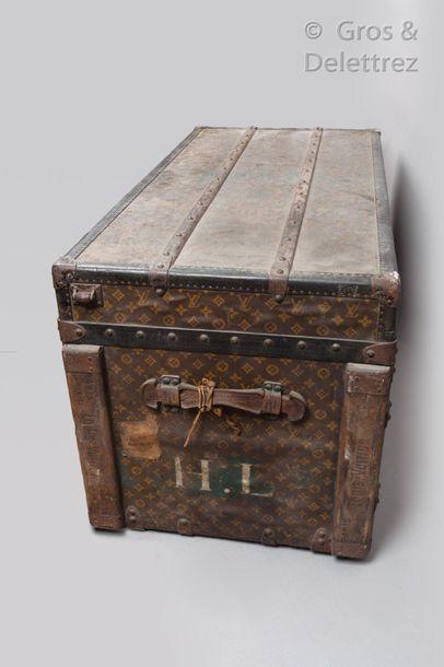 """Louis VUITTON Champs Elysées N°729604  Monogram canvas trunk with stencilled """"HL"""",..."""