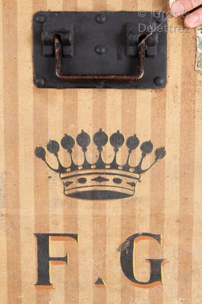 """Louis VUITTON rue Scribe n°6261  Mail trunk in striped cloth, numbered """"F. G"""", surmounted..."""