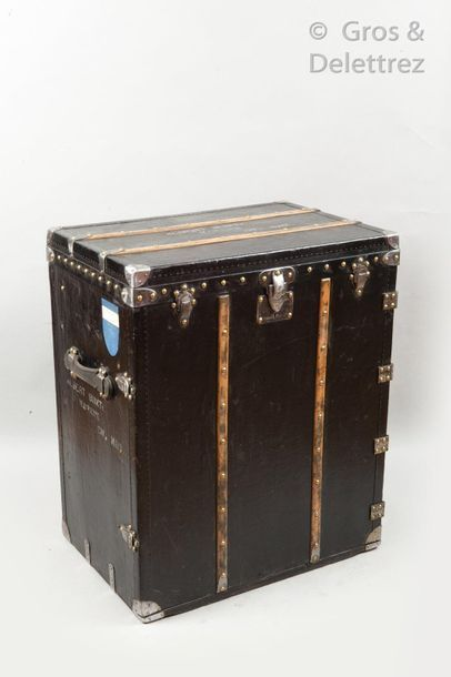 """Louis VUITTON Champs Elysées Circa 1950  Black vuittonite """"marmot trunk"""" decorated..."""