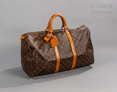 """LOUIS VUITTON Keepall"""" bag 50cm in Monogram canvas and natural leather, double zipper,..."""