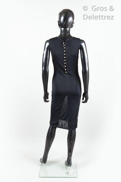 Yves SAINT LAURENT Variation Robe longue en maille stretch noir, effet transparent,...